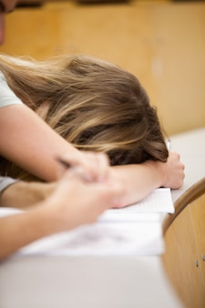 Portrait of a student sleeping