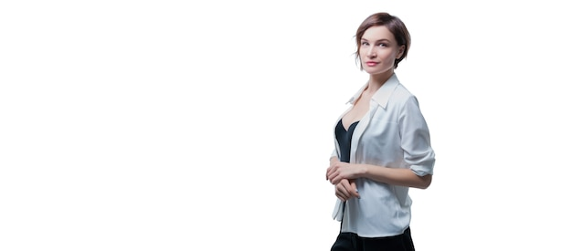 Portrait of stylish adult woman posing over white