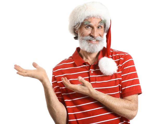 Portrait of stylish santa claus on white background