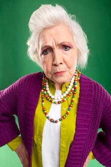 Portrait of stylish senior woman model