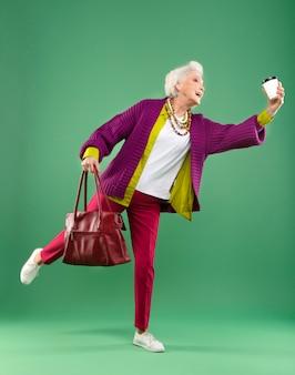 Portrait of stylish senior woman