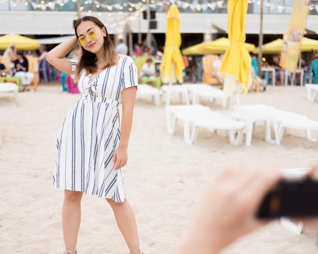 Portrait of stylish young girl posing