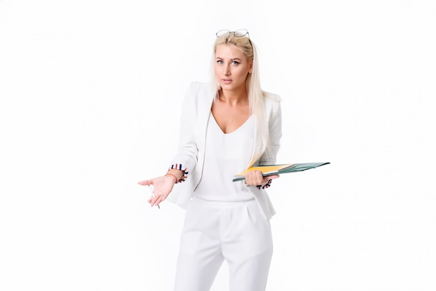 Portrait of a  successful business woman. isolated over white space. performs an audit of the company's accounting. found errors in the swelling