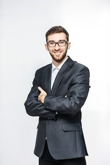 Portrait of a successful lawyer in a business suit on a white background