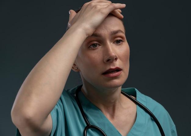 Portrait of suffering female doctor