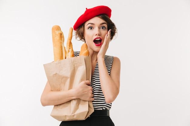 Portrait of a surprised woman wearing beret