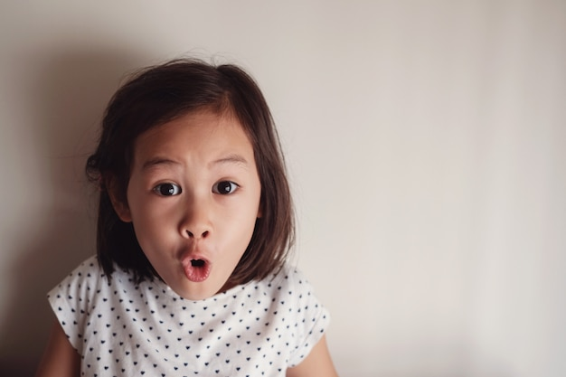 Portrait of surprising and shocking asian young little girl