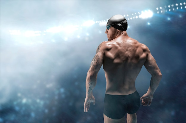 Portrait of a swimmer on the background of a sports arena
