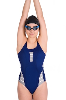 Portrait of swimmer girl in swimsuit.