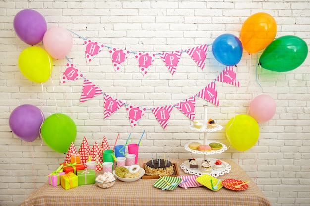 Portrait of table set up for child's party