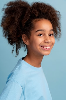 Portrait of teen girl with curly hair