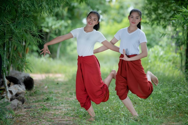 Portrait of thai young lady in art culture thailand dancing, thailand