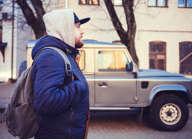 Portrait of traveller man