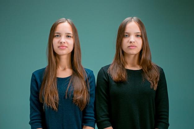 Portrait of two beautiful twin young women