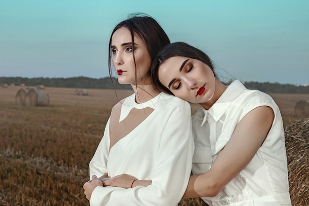 Portrait of two dark haired sisters girls in stylish clothes, against the background of a field and haystacks.