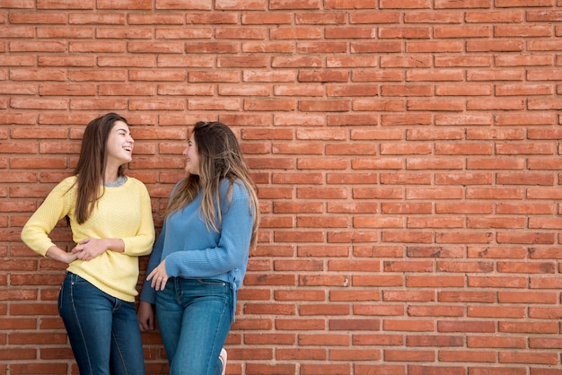 Portrait of two girls in front of a wall