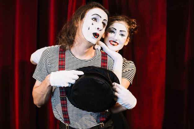 Portrait of two lovely mime artist performer