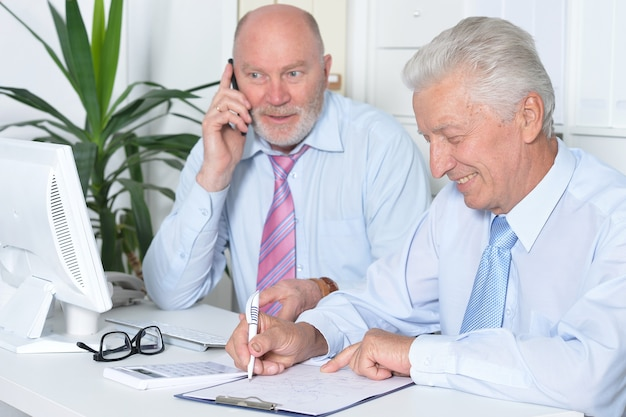 Portrait of two senior business people working together with computer on the table
