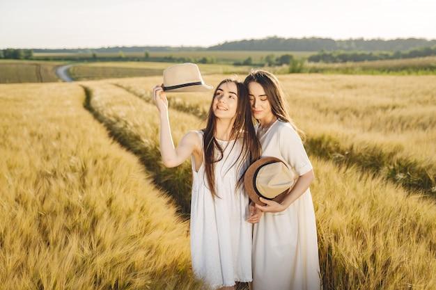 Ritratto di due sorelle in abiti bianchi con i capelli lunghi in un campo