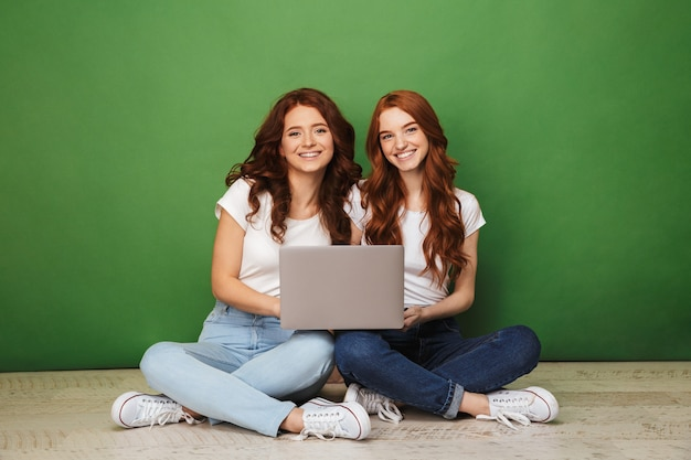 Portrait of two smiling young redhead girls