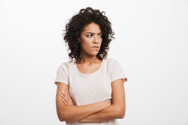 Portrait of an upset young afro american woman