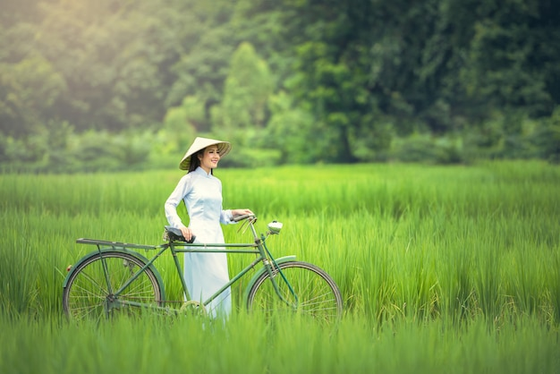 Portrait of vietnam girls with ao dai, vietnam traditional dress
