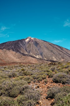 Portrait view of teide, highest volcano and mountain in spain