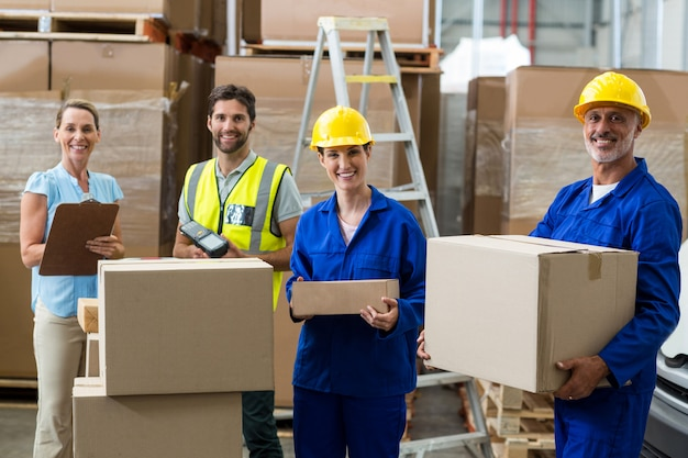 Portrait of warehouse worker standing together Premium Photo