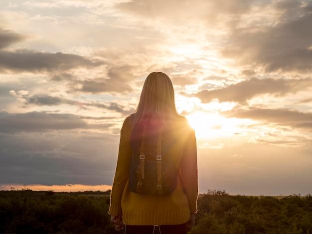 Portrait woman enjoying sunset
