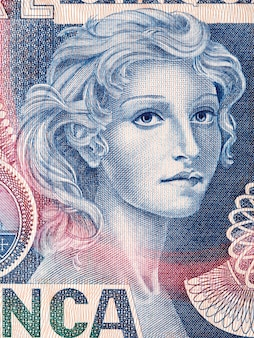 Portrait of a woman from old italian money
