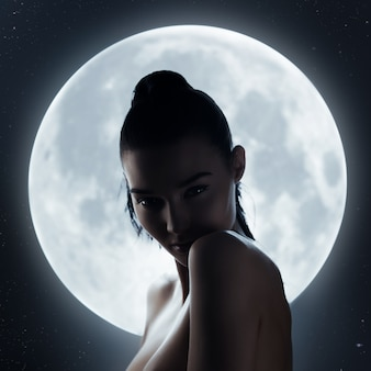 Portrait of woman at full moon