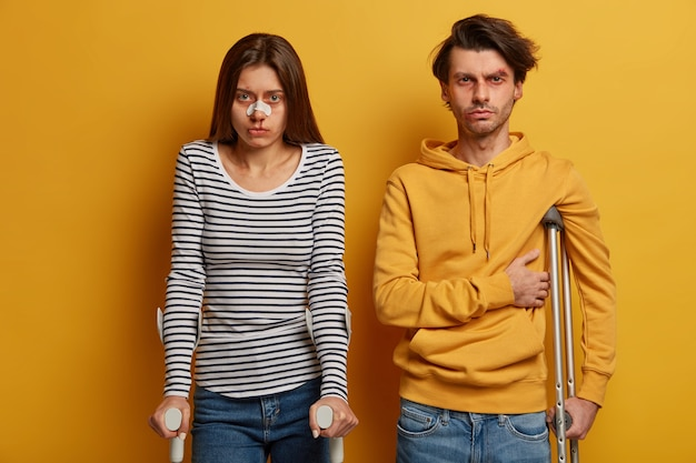 Portrait of woman and man teenage drivers have no experience