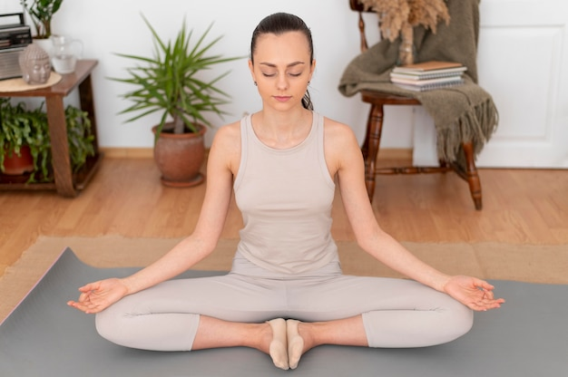 Portrait woman meditating