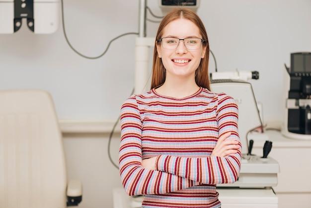 Portrait of woman at optometrist
