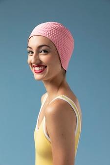 Portrait of woman in swimsuit at the studio Premium Photo