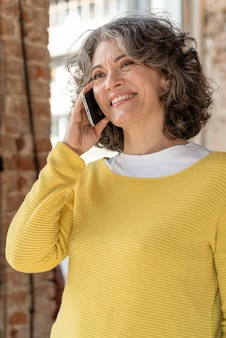 Portrait woman talking on mobile