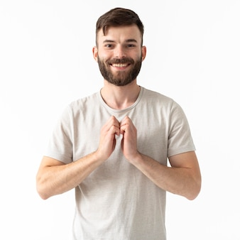 Portrait of woman teaching sign language