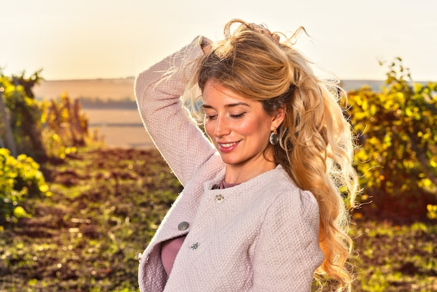 Portrait of woman in the vineyard