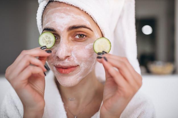 Portrait of woman wearing beauty mask