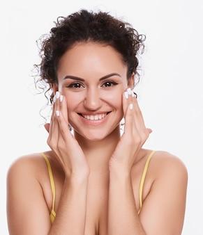 Portrait of a woman wearing makeup