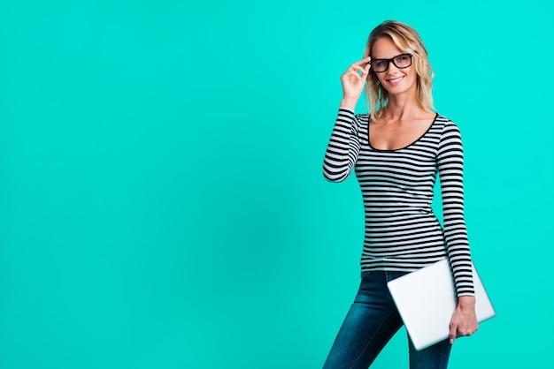Portrait woman wearing a striped shirt