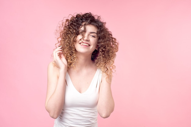 Portrait woman with afro curls hairstyle