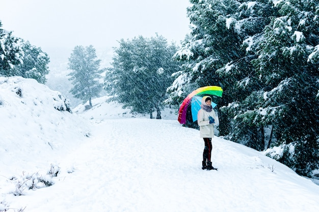 Portrait of a woman with a colorful umbrella walking on a mountain landscape.