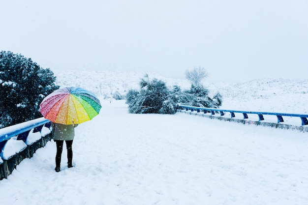 Portrait of a woman with a colorful umbrella walking on a snowy bridge