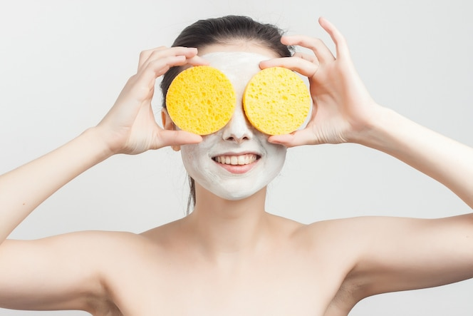Portrait woman with facial mask