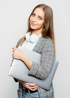 Portrait woman with laptop
