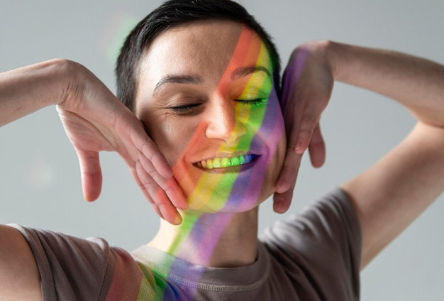 Portrait of woman with lgbt symbol