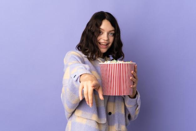 Portrait woman with popcorn