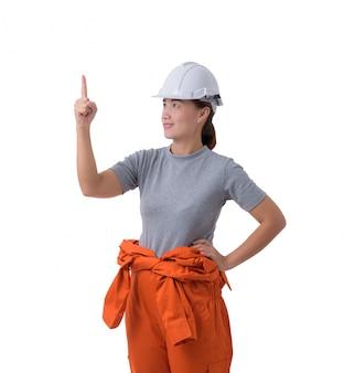 Portrait of a woman worker in mechanic jumpsuit