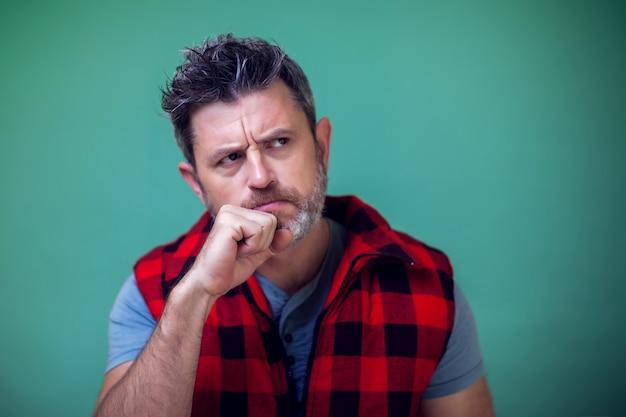 Portrait of worried man thinking